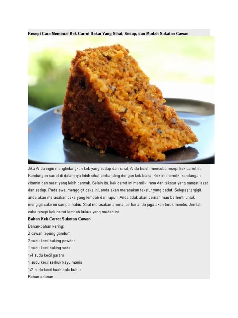Resepi Kek Carrot