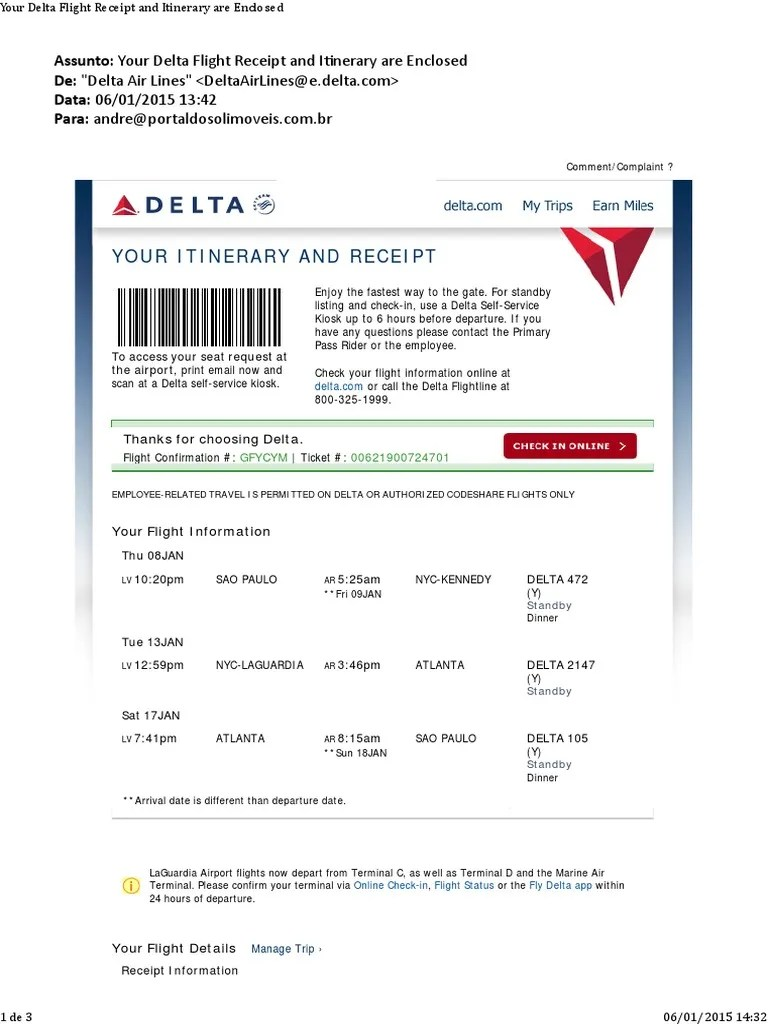 Delta Baggage Receipt : delta, baggage, receipt, Delta, Airlines, Receipt, United, Travelling