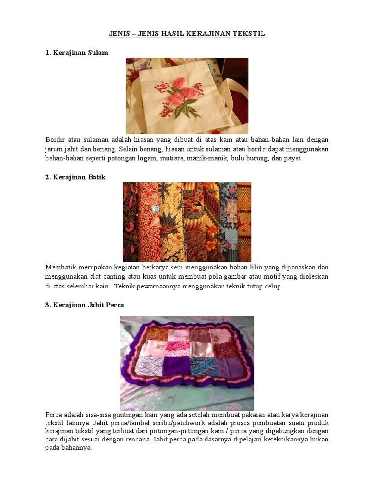 Proses Pembuatan Kerajinan Tekstil : proses, pembuatan, kerajinan, tekstil, JENIS, KERAJINAN, TEKSTIL