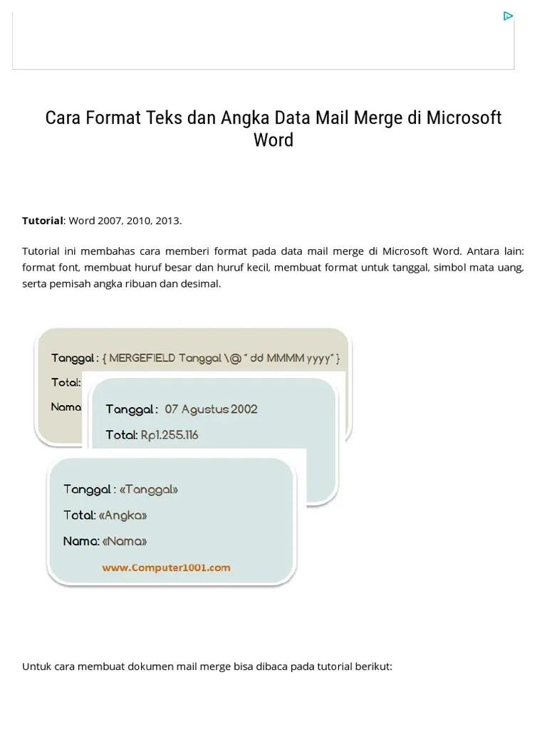 Format Mata Uang Di Ms Word : format, Format, Angka, Merge, Microsoft, Computer
