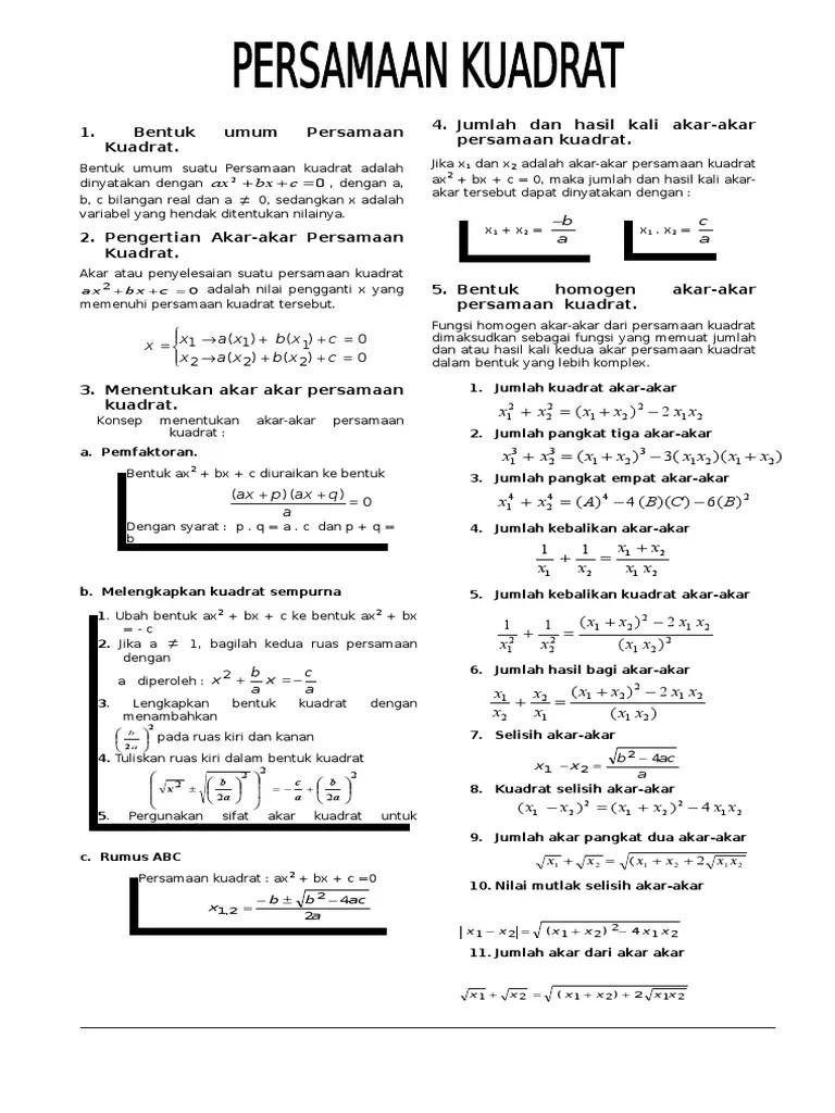 Materi Persamaan Kuadrat Pdf : materi, persamaan, kuadrat, Materi, Persamaan, Kuadrat, Lengkap, Print, Cute766