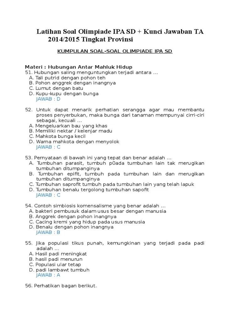 Soal Osn Ipa Sd 2019 : Latihan