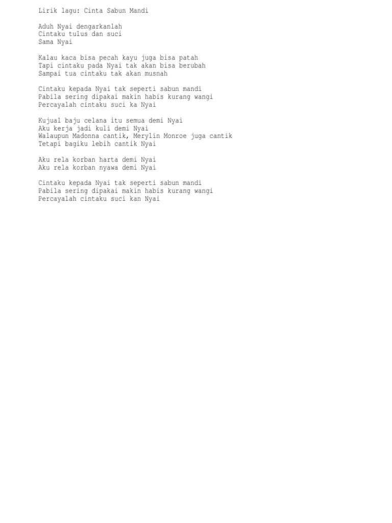 Lirik Lagu Demi Nyai : lirik, Cinta, Sabun, Mandi