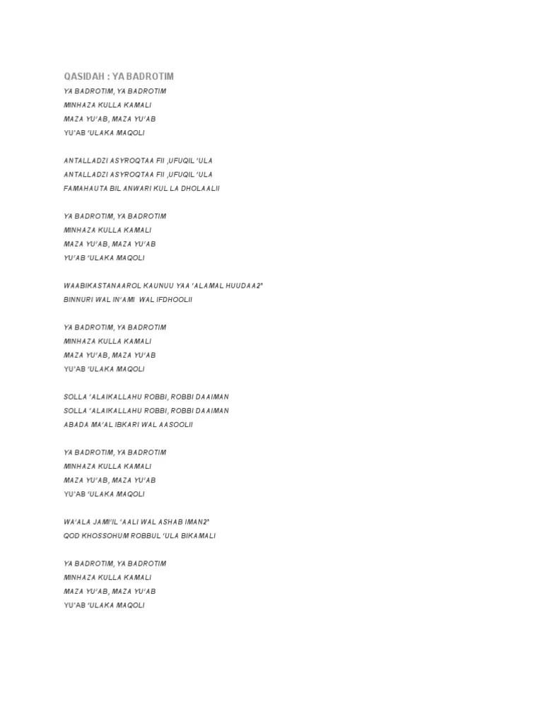 Lirik Ya Badrotim : lirik, badrotim, QASIDAH