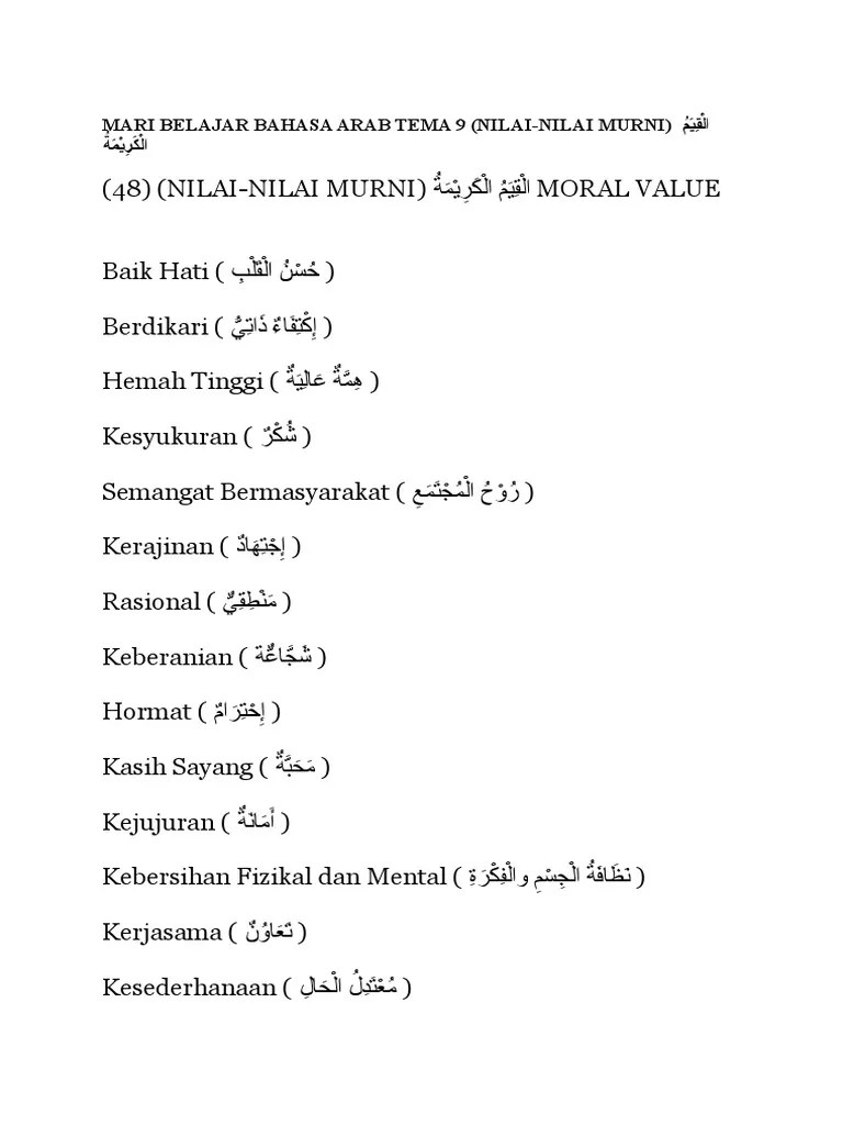 Bahasa Arab Semangat : bahasa, semangat, Nilai, Murni