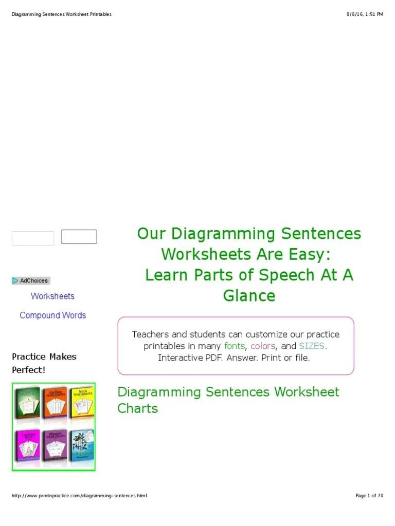 medium resolution of Diagramming Sentences Worksheet Printables   Adverb   Preposition And  Postposition
