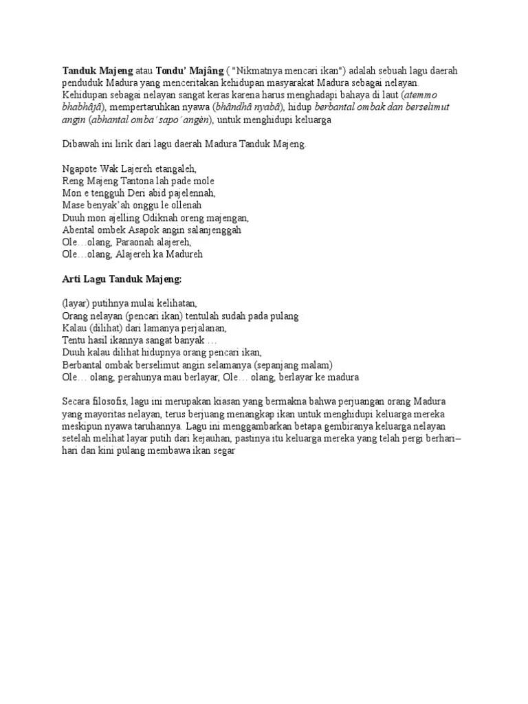 Lirik Lagu Tanduk Majeng : lirik, tanduk, majeng, Tanduk, Majeng, Tondu