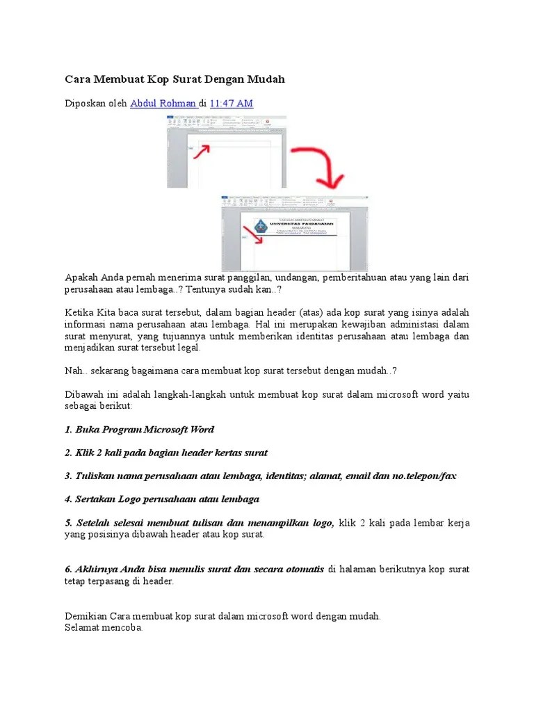 Cara Membuat Kop Surat Dengan Logo Di Microsoft Word 2010 : membuat, surat, dengan, microsoft, Membuat, Surat, Serta, Contoh