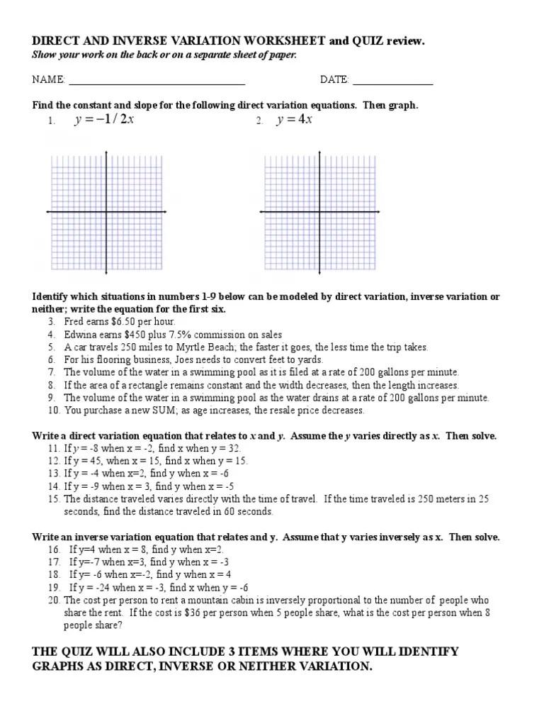 medium resolution of Direct And Inverse Variation Worksheet Answer Key - Nidecmege