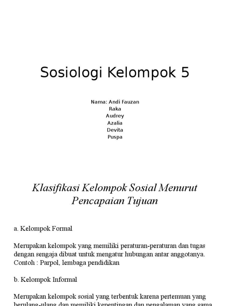 Contoh Kelompok Formal : contoh, kelompok, formal, Sosiologi, Kelompok, 5.pptx
