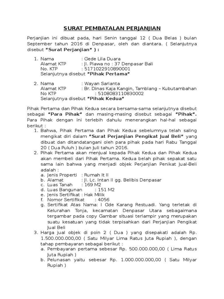 Surat Pembatalan Kerjasama : surat, pembatalan, kerjasama, Surat, Pembatalan, Perjanjian