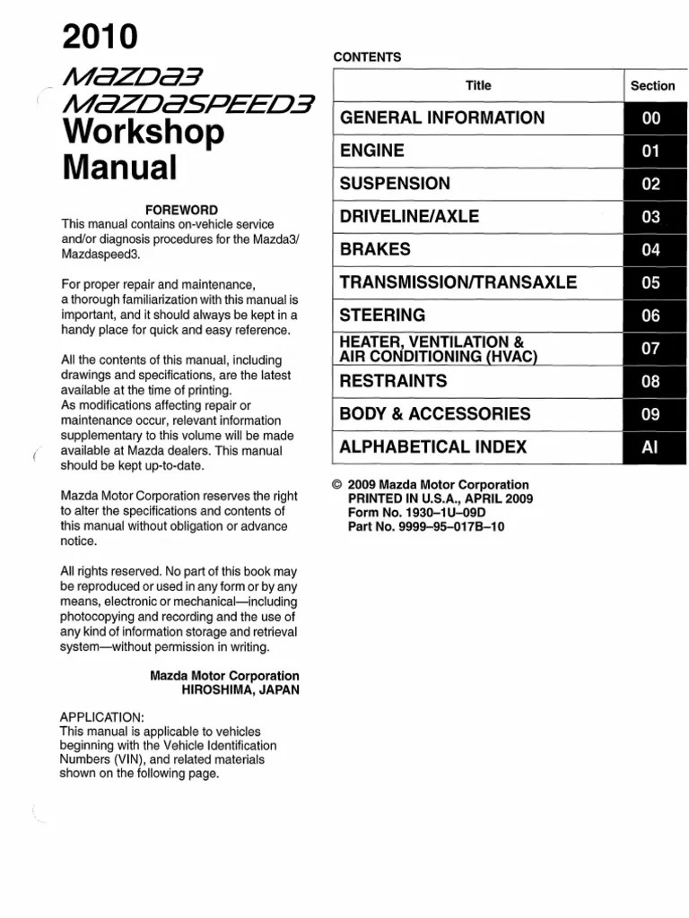 hight resolution of 2nd gen mazda3 mazdaspeed3 workshop manual 1 vehicles manual transmission
