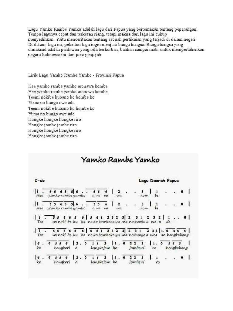 Makna Lagu Yamko Rambe Yamko : makna, yamko, rambe, Lagu.docx