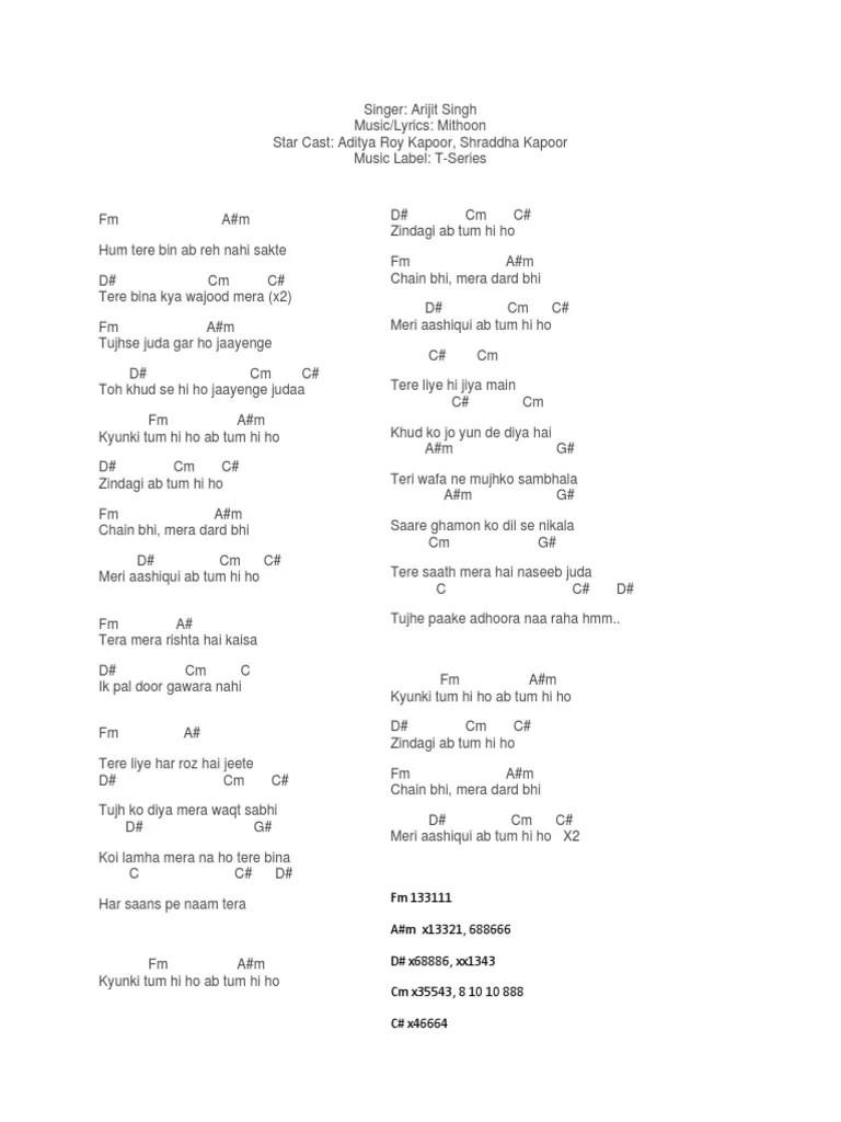 Kord Gitar Tum Hi Ho : gitar, Chords