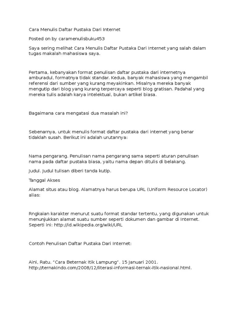 Cara Menulis Daftar Pustaka Dari Web Internet : menulis, daftar, pustaka, internet, Contoh, Daftar, Pustaka, Internet, Wikipedia, Materi, Pelajaran