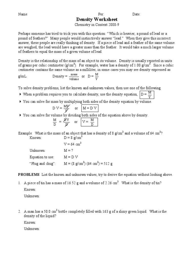 small resolution of Density Worksheet   Density   Volume