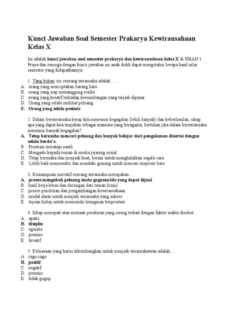 Soal Prakarya Kelas 10 : prakarya, kelas, Kunci, Jawaban, Semester, Prakarya, Kewirausahaan, Kelas