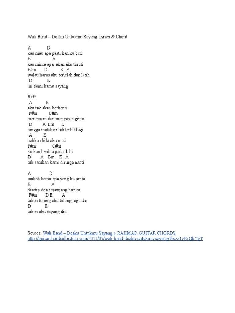 Lirik Lagu Wali - Doaku Untukmu Sayang