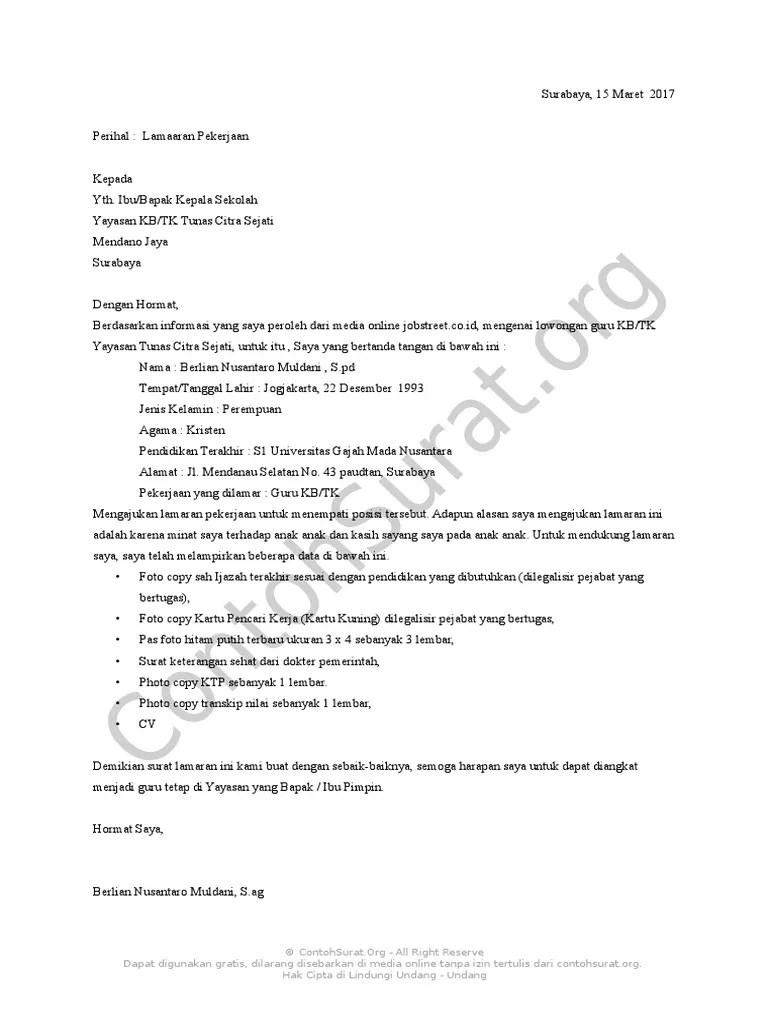 Contoh Surat Lamaran Kerja Untuk Guru Paud Cute766