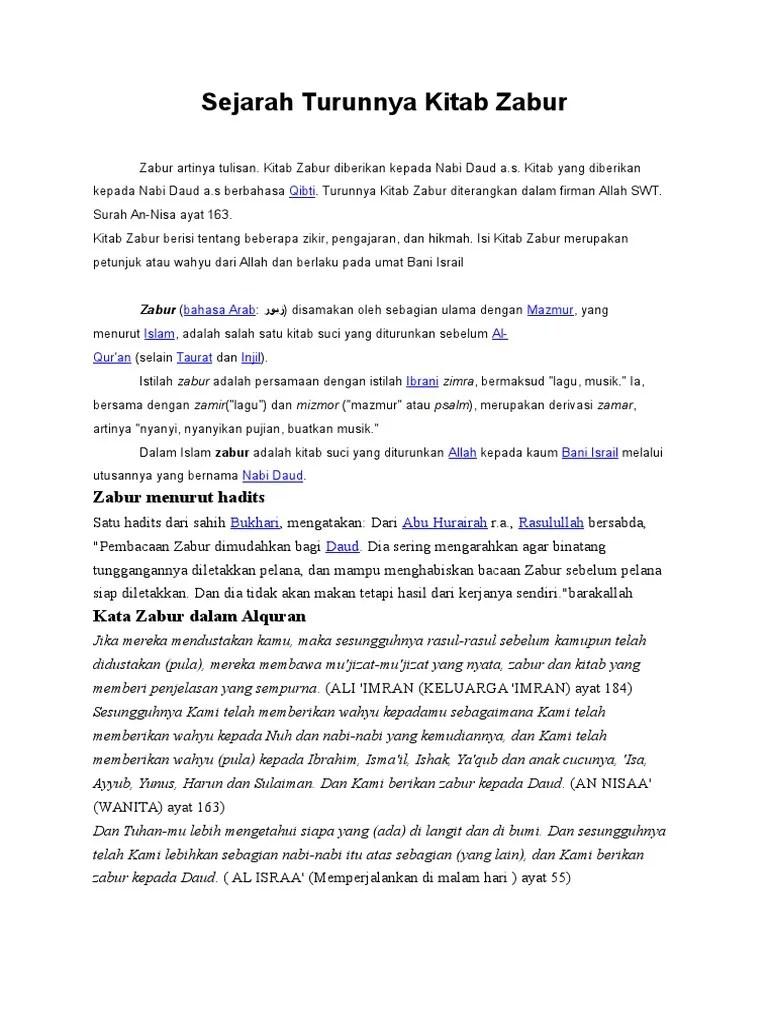 Kitab Zabur Berbahasa : kitab, zabur, berbahasa, Sejarah, Turunnya, Kitab, Zabur