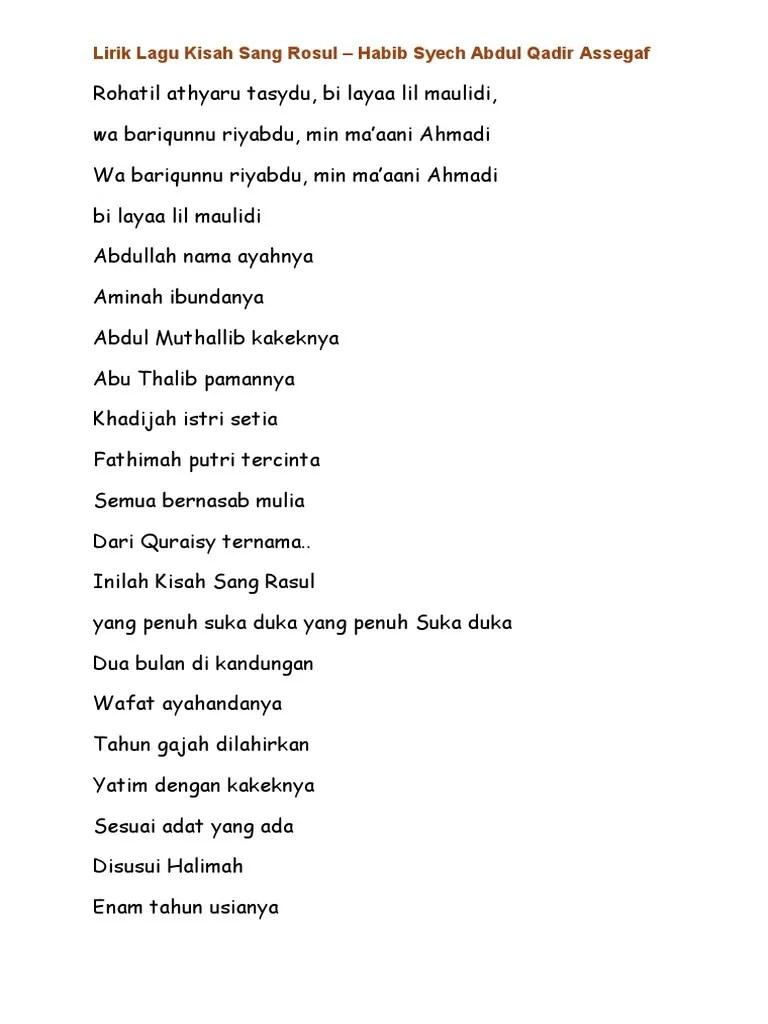 Kisah Sang Rasul Lirik : kisah, rasul, lirik, Lirik, Kisah, Rosul