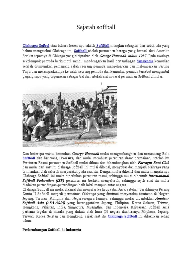 Sejarah Softball Di Indonesia : sejarah, softball, indonesia, Tugas, Softball