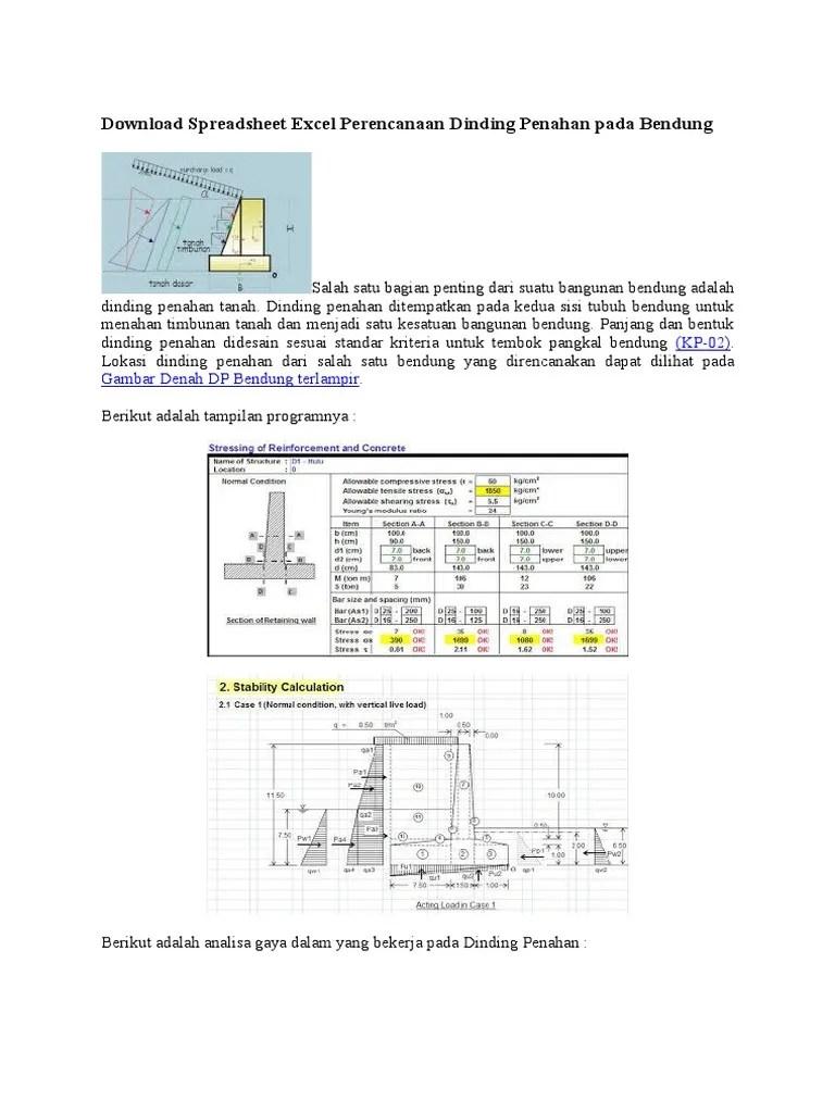 Perhitungan Dinding Penahan Tanah Dengan Excel : perhitungan, dinding, penahan, tanah, dengan, excel, Download, Spreadsheet, Excel, Perencanaan, Dinding, Penahan, Bendung