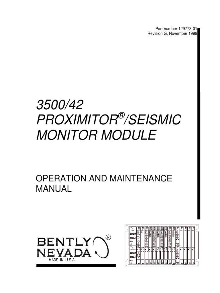 medium resolution of  3500 42 proximitor seismic monitor module op maintenance man diagram bently wiring seismic bently nevada
