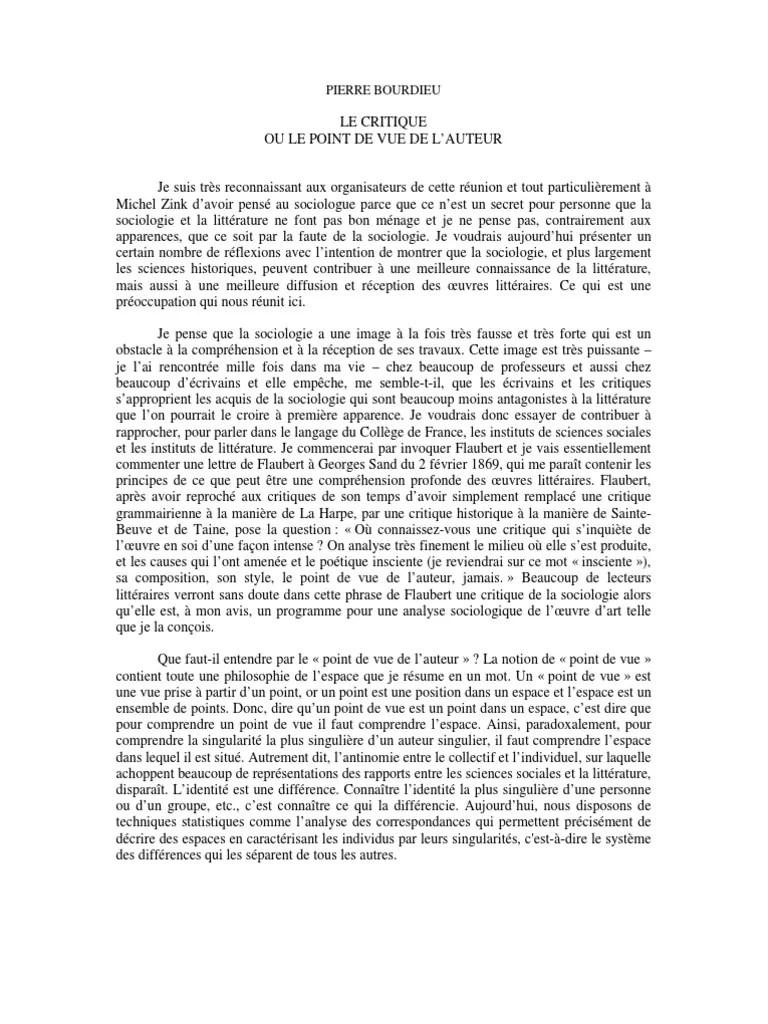 Point De Vue De L Auteur : point, auteur, Critique, Point, L'auteur, (Pierre, Bourdieu), Gustave, Flaubert, Sociologie