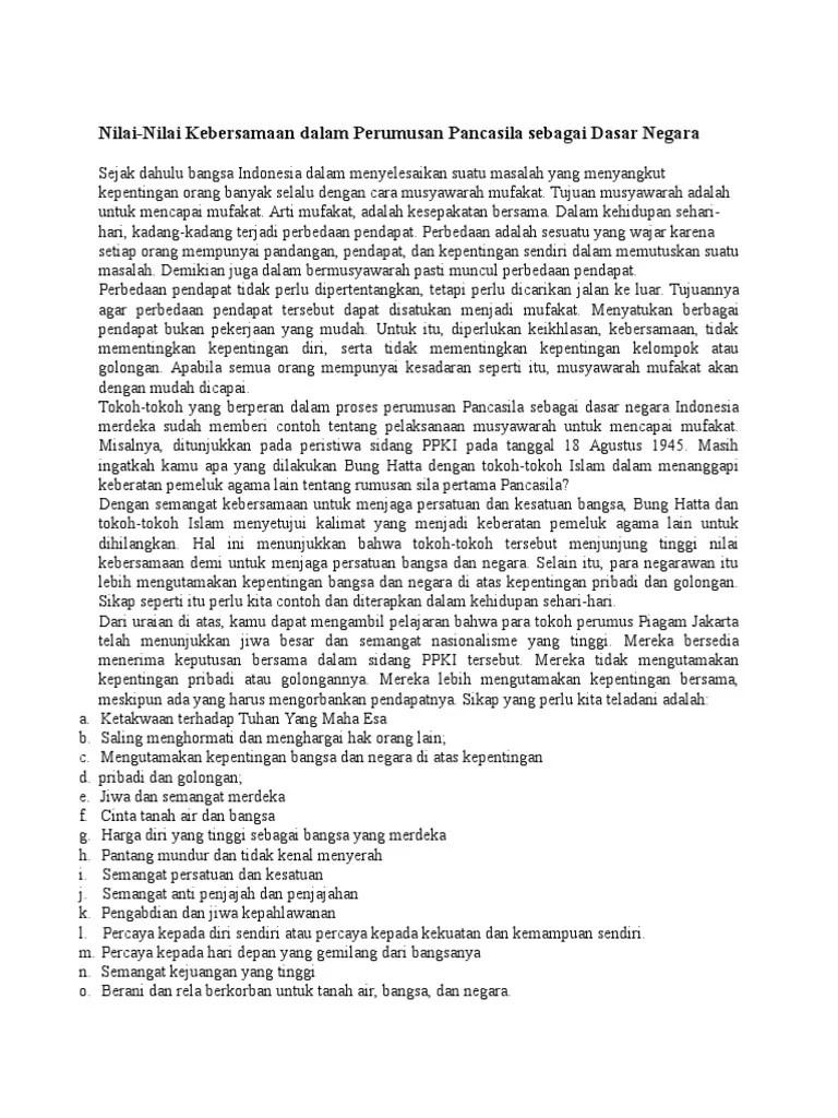Nilai Kebersamaan Dalam Perumusan Pancasila : nilai, kebersamaan, dalam, perumusan, pancasila, Nilai-Nilai, Kebersamaan, Dalam, Perumusan, Pancasila, Sebagai, Dasar, Negara