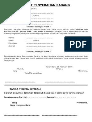 Contoh Surat Jalan Pengeluaran Barang : contoh, surat, jalan, pengeluaran, barang, Serahan, Contoh, Surat, Penyerahan, Barang
