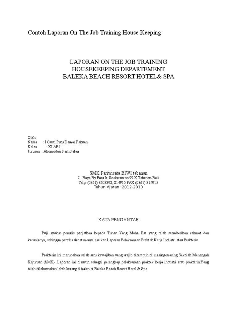Contoh Laporan On The Job Training Housekeeping Temukan Contoh Cute766