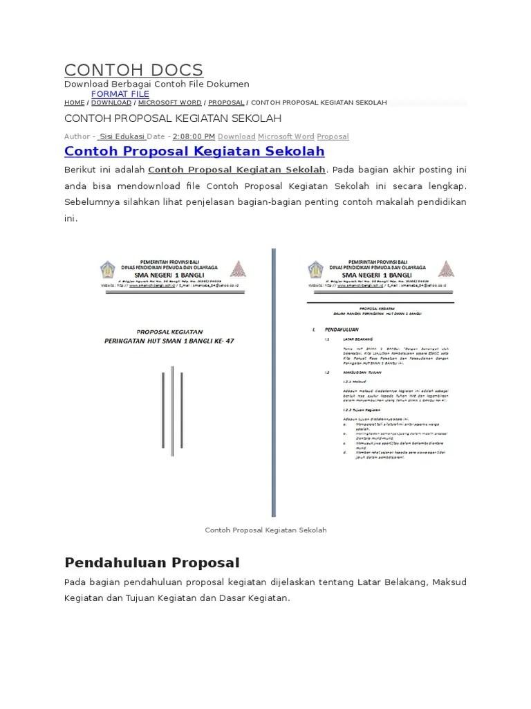 Contoh Proposal Word : contoh, proposal, Contoh, Proposal, Kegiatan, Sekolah