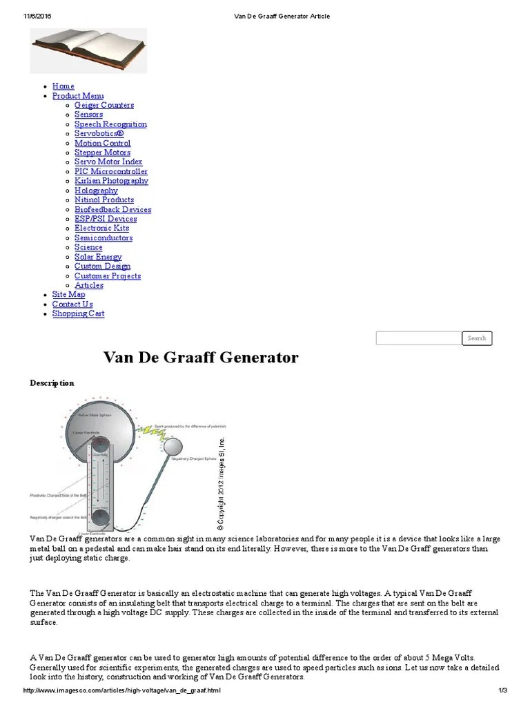 hight resolution of van der graaf generator diagram