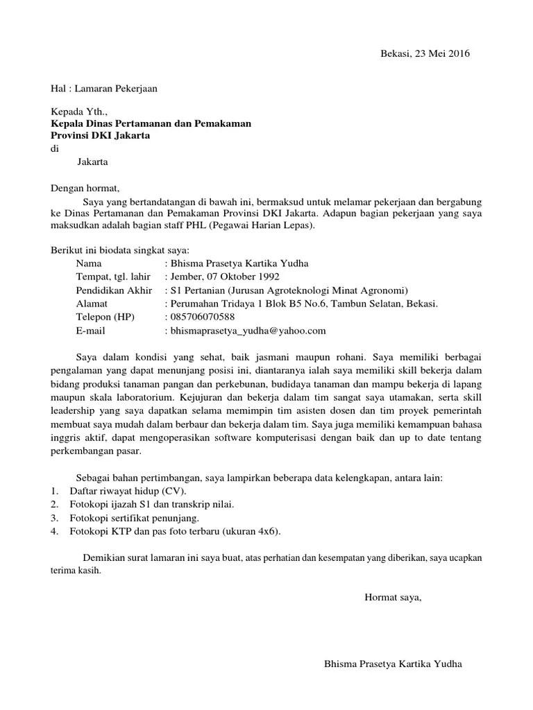 Contoh Surat Lamaran Kerja Di Kantor Dinas Berbagi Cute766