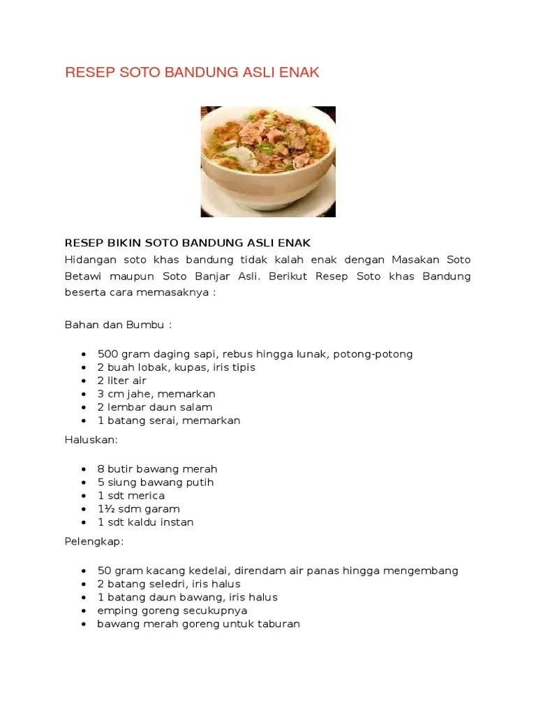 Resep Soto Bandung Daging Sapi : resep, bandung, daging, Resep, Bandung