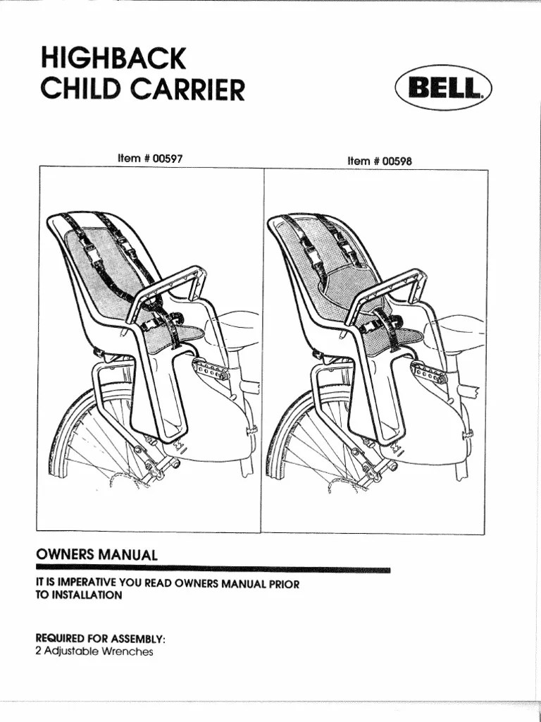 BELL CLASSIC CHILD CARRIER INSTRUCTION MANUAL