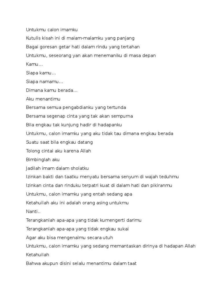 Puisi Cinta Islam Untuk Calon Imamku : puisi, cinta, islam, untuk, calon, imamku, Untukmu, Calon, Imamku