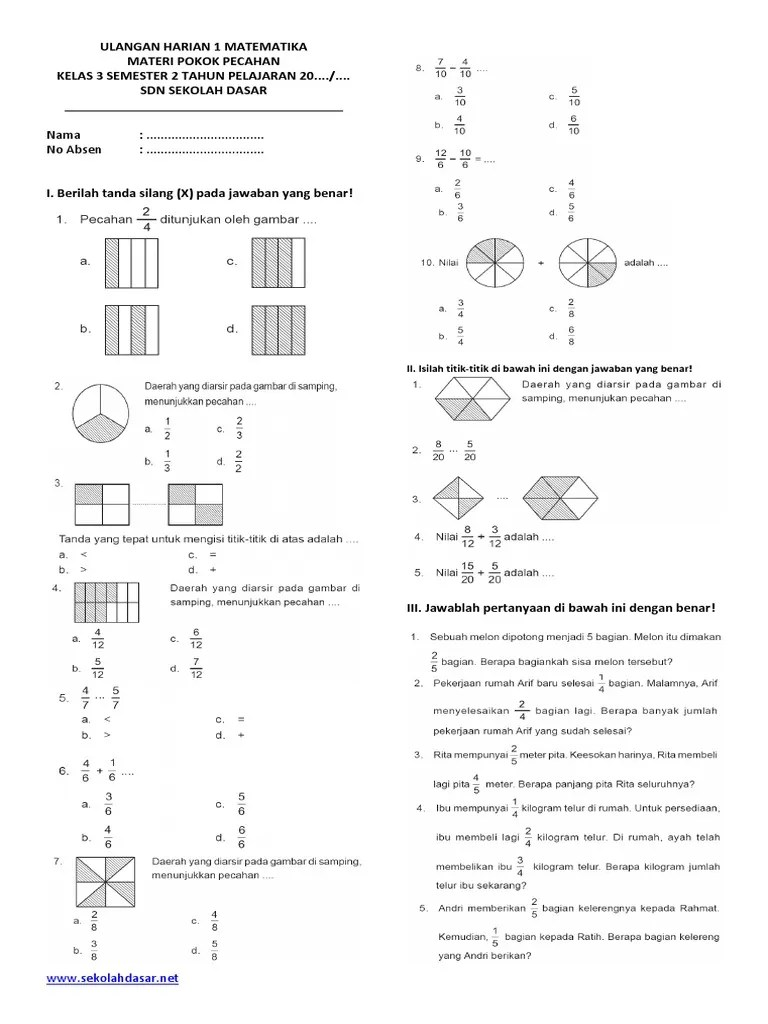 Soal Pecahan Kelas 3 : pecahan, kelas, MATEMATIKA, KELAS, SEMESTER, PECAHAN.pdf