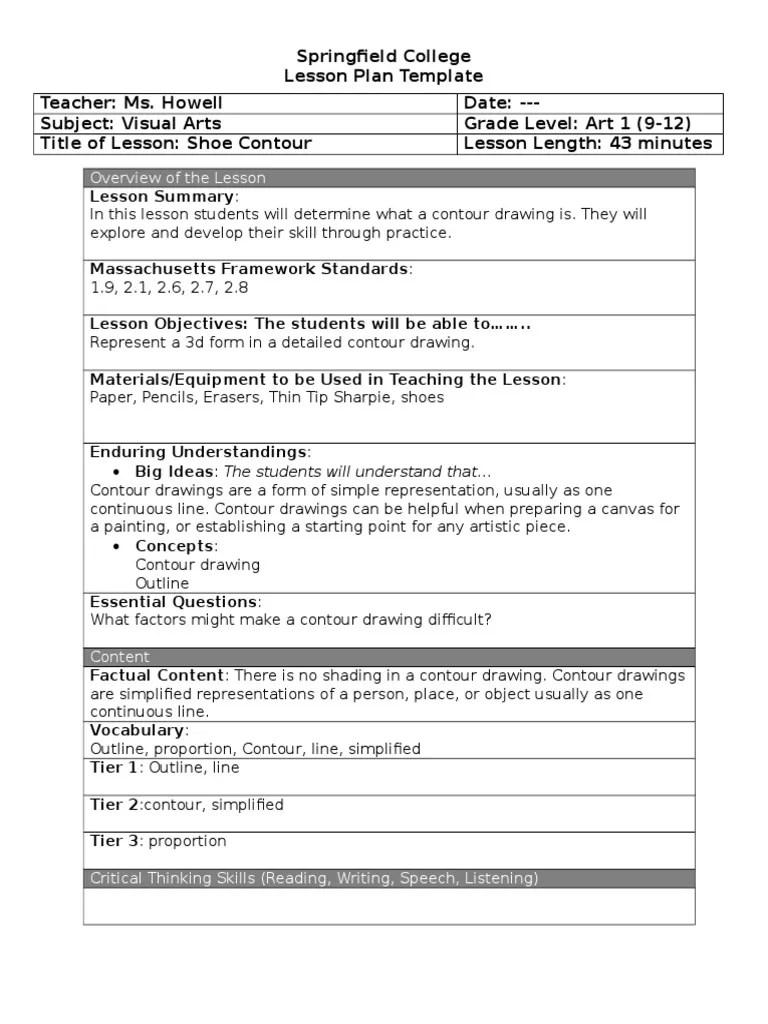 contour lesson plan 9-1-16   Drawing   Lesson Plan [ 1024 x 768 Pixel ]