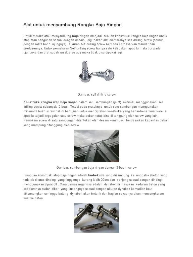 ukuran standar baut baja ringan alat untuk menyambung rangka doc