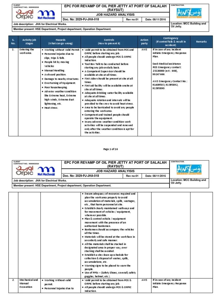 medium resolution of jha for electrical works rev 01 personal protective equipmentelectrical job plan 18