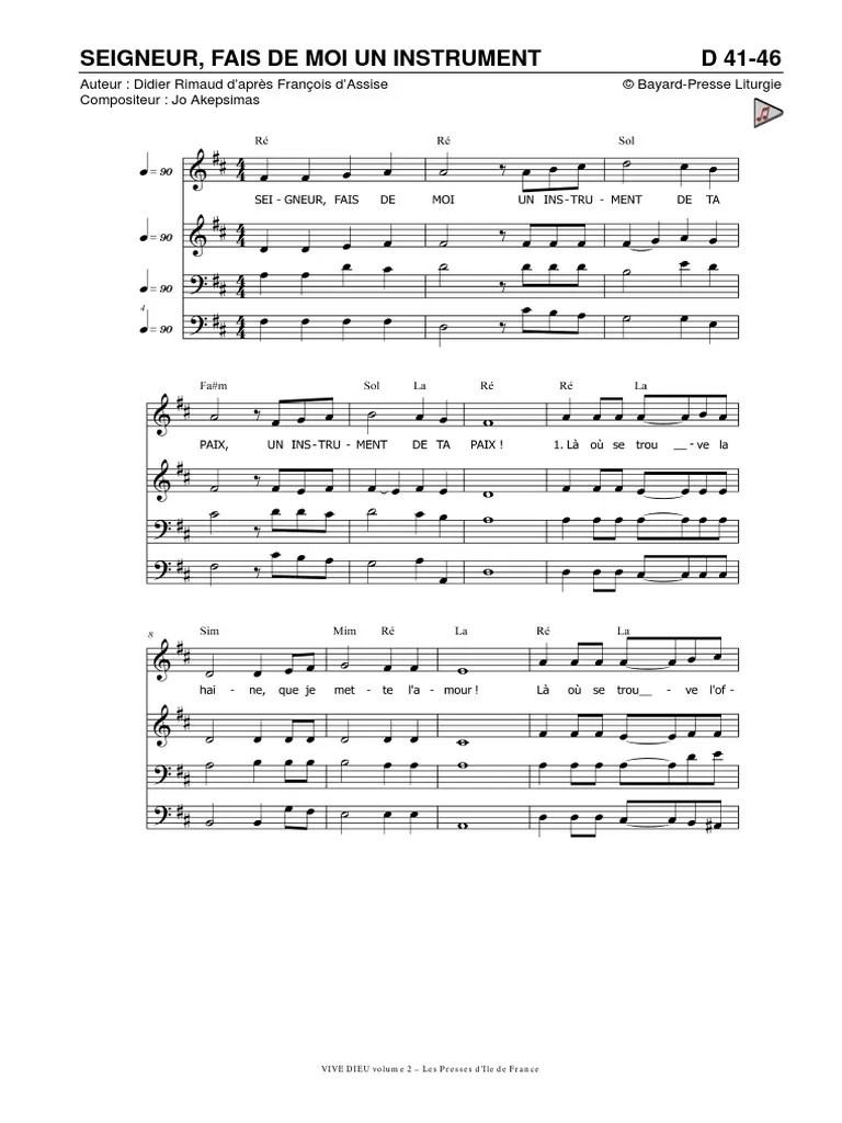 Seigneur Fais De Moi Un Instrument De Ta Paix : seigneur, instrument, D41-46