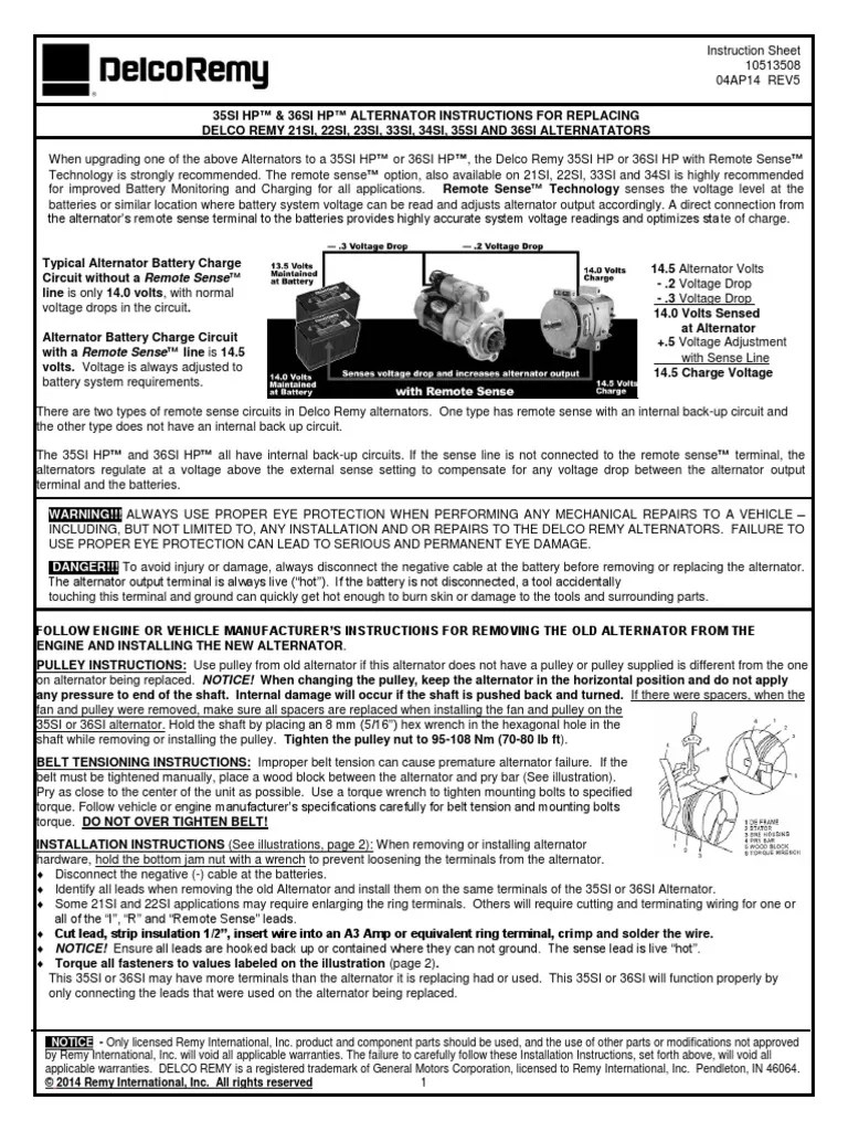 instructions for 35si hp 36si hp replacing delco remy 21si 22si 35si delco remy alternator wiring diagram [ 768 x 1024 Pixel ]