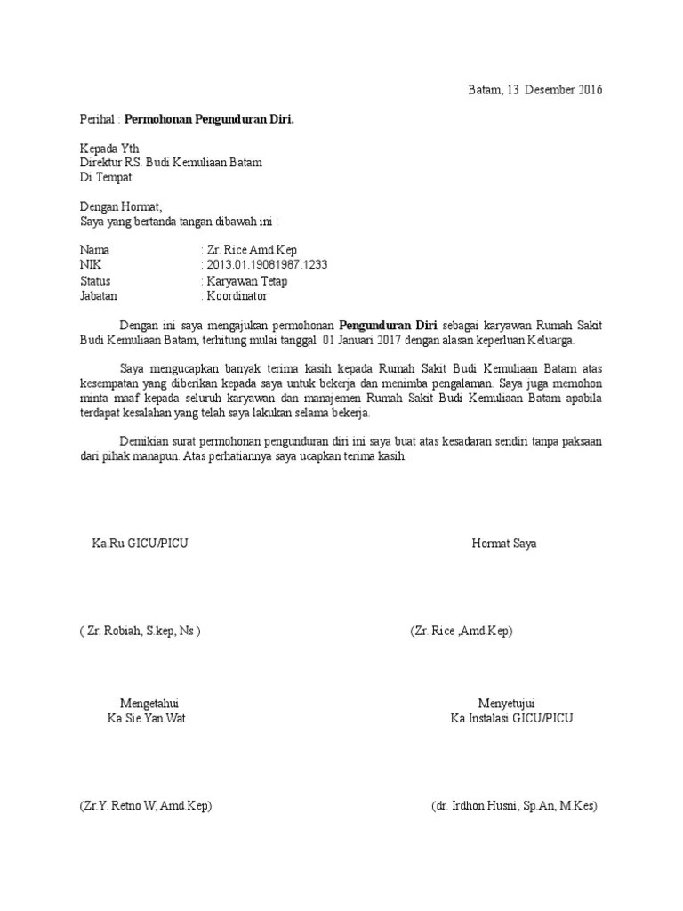 Form Surat Pengunduran Diri : surat, pengunduran, Pengunduran