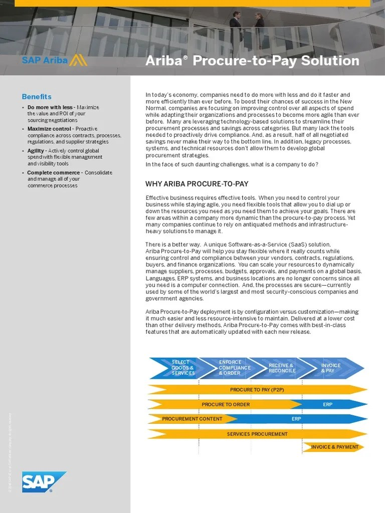 Ariba Procure to Pay Solution   Enterprise Resource Planning   Sap Se