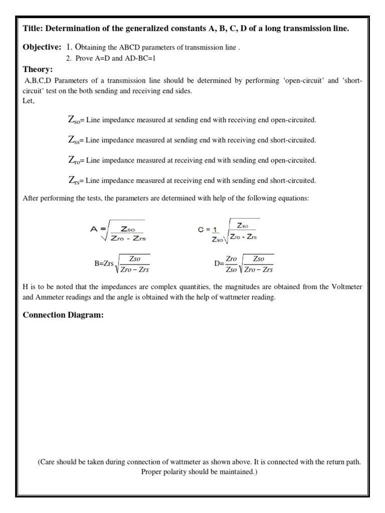 small resolution of determination of abcd parameter of long transmission line transmission line electrical impedance