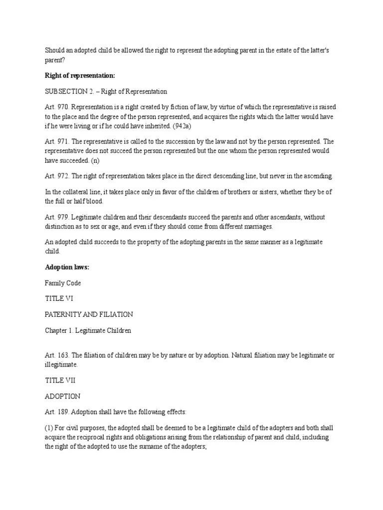 also relevant adoption laws philippines intestacy legitimacy family law rh scribd