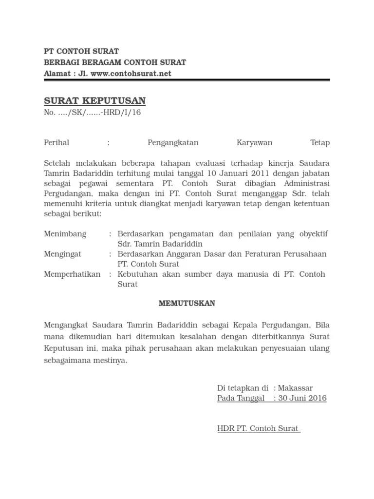 Contoh Surat Pengangkatan Karyawan Tetap Swasta