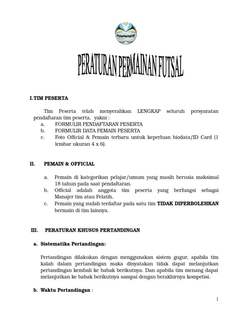 Peraturan Permainan Futsal Terbaru : peraturan, permainan, futsal, terbaru, Peraturan, Futsal
